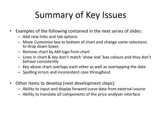 Summary of Key Issues