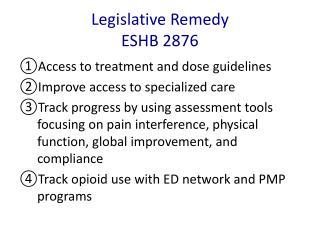 Legislative  Remedy ESHB 2876