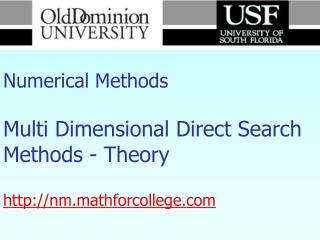 Numerical Methods Multi Dimensional Direct Search Methods - Theory nm.mathforcollege
