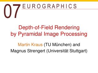 Depth - of -Field Rendering by  Pyramidal Image Processing