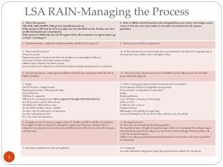 LSA RAIN-Managing the Process