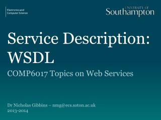 Service Description: WSDL