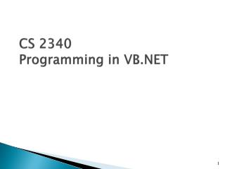 CS 2340 Programming in VB.NET