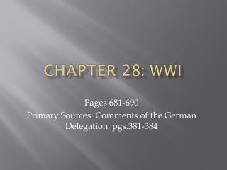 Chapter 28: WWI