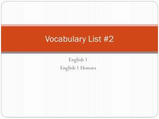 Vocabulary List  #2