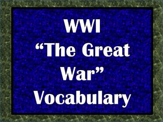 "WWI ""The Great War"" Vocabulary"