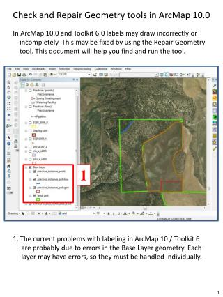 Check and Repair Geometry tools in ArcMap 10.0