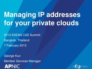 Managing IP addresses for your private clouds