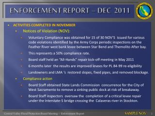 ENFORCEMENT REPORT – DEC  2011