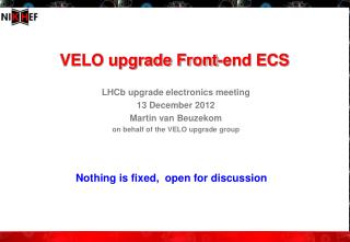 VELO upgrade Front-end ECS