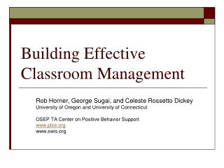 Building Effective Classroom Management