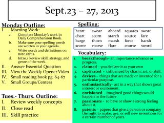 Sept.23 – 27, 2013