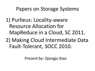 Papers on Storage Systems