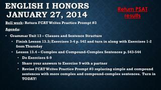 English I Honors January 27, 2014