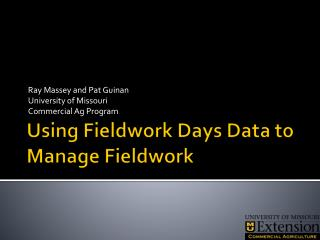 Using Fieldwork Days Data to Manage Fieldwork