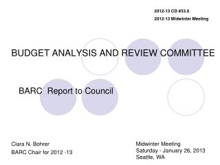 BUDGET ANALYSIS AND REVIEW COMMITTEE