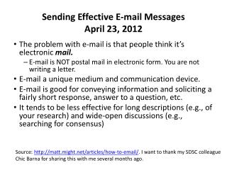 Sending Effective E-mail Messages April 23, 2012