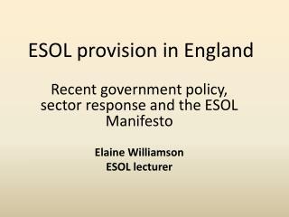 ESOL provision in England