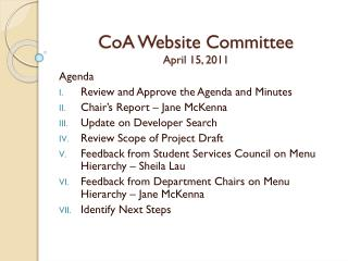 CoA Website Committee April 15, 2011