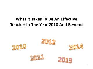 What It Takes To Be An Effective Teacher In The Year 2010 And Beyond