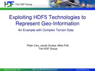 Exploiting HDF5 Technologies to Represent Geo-Information
