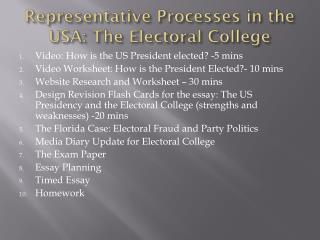 Representative Processes in the USA: The Electoral College