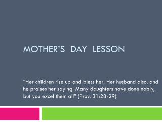 MOTHER'S  DAY  LESSON