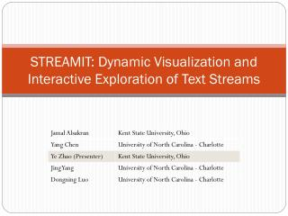 STREAMIT: Dynamic Visualization and Interactive Exploration of Text Streams