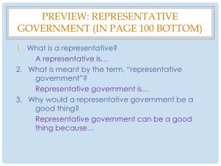 Preview: Representative  Government (IN Page 100 BOTTOM)