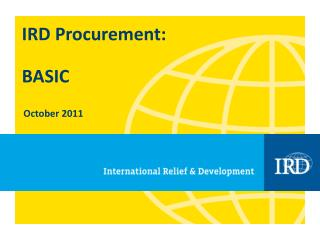 IRD Procurement: BASIC