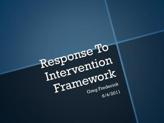 Response To Intervention Framework