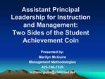 Assistant Principal Leadership for Instruction and Management: Two Sides of the Student Achievement Coin