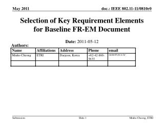 Selection of Key Requirement Elements  for Baseline FR-EM Document