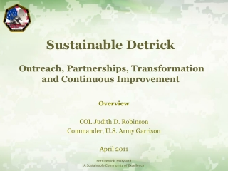 Fort Detrick Wastewater Program