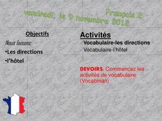 Français  2 vendredi , le 9  novembre  2012