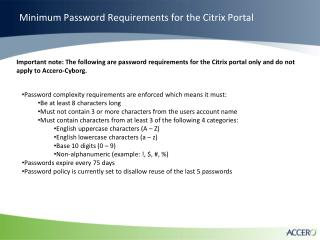 Minimum Password Requirements for the Citrix Portal