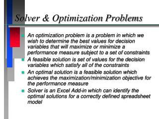 Solver & Optimization Problems