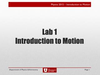 Lab 1 Introduction to Motion