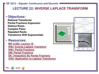 LECTURE  22:  INVERSE LAPLACE TRANSFORM