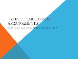Types of Employment Arrangements
