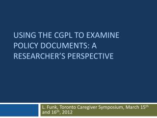 using the CGPL to examine policy documents: a researcher�s perspective