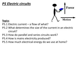 P5 Electric circuits Topics P5.1 Electric current – a flow of what?