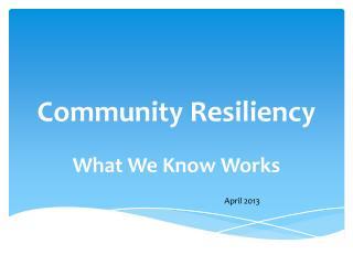 Community Resiliency