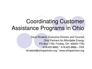 Coordinating Customer Assistance Programs in Ohio
