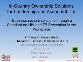 XIX International AIDS Conference (AIDS 2012) Washington D.C. 22-27 July 2012