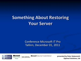 Something About Restoring Your Server