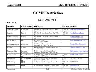 GCMP Restriction