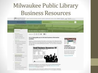 Milwaukee Public Library Business Resources