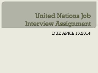 United Nations Job Interview Assignment