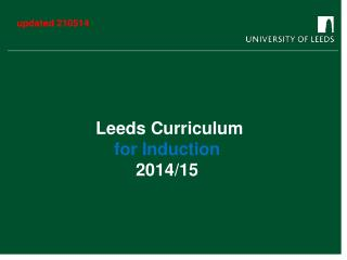 Leeds Curriculum for Induction 2014/15
